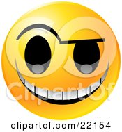 Yellow Emoticon Face With An Evil Michievious Grin