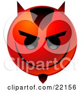 Red Emoticon Face With Devil Horns And A Goatee Grinning