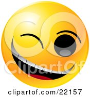 Clipart Illustration Of A Yellow Emoticon Face Winking And Grinning While Flirting Or Joking