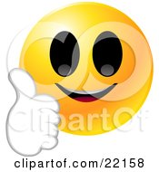 Clipart Illustration Of A Yellow Emoticon Face Smiling And Giving The Thumbs Up