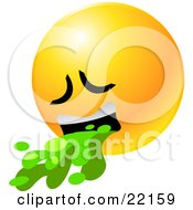 Yellow Emoticon Face Puking Up Green Barf