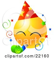 Clipart Illustration Of A Yellow Emoticon Face Wearing A Party Hat And Blowing On A Noise Maker At A Party
