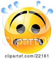 Clipart Illustration Of A Yellow Emoticon Face With A Frown Gritting Its Teeth And Sweating While Stressing Out