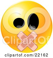 Clipart Illustration Of A Yellow Emoticon Face With Big Black Eyes And Bandages Over His Mouth