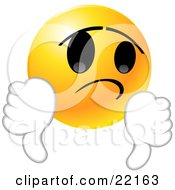 Clipart Illustration Of A Yellow Emoticon Face Giving Two Thumbs Down In Disappointment
