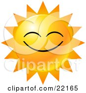 Clipart Illustration Of A Yellow Emoticon Face Displayed As The Sun With Rays Of Light Symbolizing Happiness