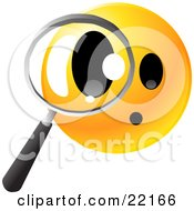 Clipart Illustration Of A Yellow Emoticon Face Peering Through A Magnifying Glass