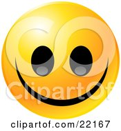 Clipart Illustration Of A Yellow Emoticon Face Grinning With A Giant Smile