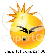 Clipart Illustration Of A Yellow Emoticon Face Scruncing Its Face While Being Hit With A Blow To The Back Of The Head Headache Or Injury by Tonis Pan
