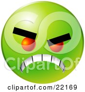 Clipart Illustration Of A Green Emoticon Face With Red Eyes Gritting Its Teeth Symbolizing Anger And Bullying
