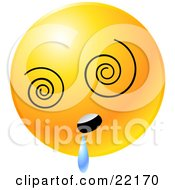 Clipart Illustration Of A Yellow Emoticon Face With Vortex Eyes Drooling
