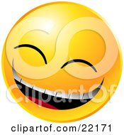 Clipart Illustration Of A Yellow Emoticon Face Laughing Really Hard