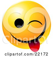 Clipart Illustration Of A Yellow Emoticon Face Teasing Winking And Sticking His Tongue Out