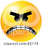 Yellow Emoticon Face Mad With Anger Gritting His Teeth