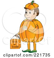 Boy Trick Or Treating In A Pumpkin Costume And Carrying A Bag
