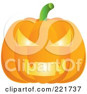 Royalty Free RF Clipart Illustration Of A 3d Evil Carved Glowing Pumpkin Face