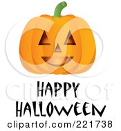 Royalty Free RF Clipart Illustration Of A Happy Halloween Greeting Under A Smiling Pumpkin by Pams Clipart