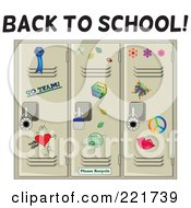 Royalty Free RF Clipart Illustration Of A Back To School Greeting Over Tan School Lockers