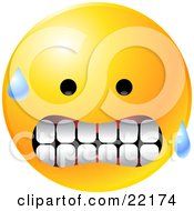 Clipart Illustration Of A Yellow Emoticon Face Gritting His Teeth With Sweat On His Face