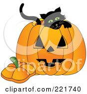Royalty Free RF Clipart Illustration Of A Cute Black Kitten Inside A Jackolantern by Pams Clipart