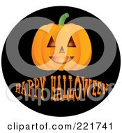 Royalty Free RF Clipart Illustration Of A Happy Halloween Greeting Under A Jack O Lantern On A Black Circle by Pams Clipart