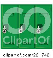 Royalty Free RF Clipart Illustration Of A Wall Of Green School Lockers With Padlocks