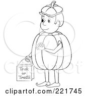 Coloring Page Outline Of A Boy Trick Or Treating In A Pumpkin Costume