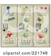 Royalty Free RF Clipart Illustration Of Scattered Stickers On Tan School Lockers by Pams Clipart