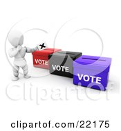 Clipart Picture Of A White Person In Thought Standing By Red Black And Blue Ballot Boxes And Casting Their Vote by KJ Pargeter