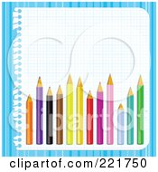 Royalty Free RF Clipart Illustration Of Colored Pencils Over Graph Paper On Blue Stripes by MilsiArt