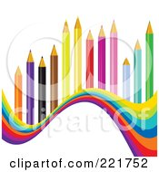 Royalty Free RF Clipart Illustration Of A Wave Of Colors Under Colored Pencils by MilsiArt