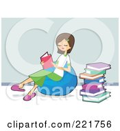 Royalty Free RF Clipart Illustration Of A Teen Caucasian Girl Sitting On A Bean Bag And Reading Books