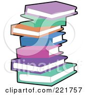 Royalty Free RF Clipart Illustration Of A Stack Of Colorful Pastel Books With A Black Outline by peachidesigns