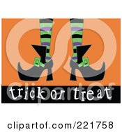 Royalty Free RF Clipart Illustration Of A Witchs Feet With Green Purple And Black Stockings And Pointed Shoes Above Trick Or Treat On Orange by peachidesigns