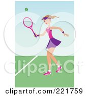 Royalty Free RF Clipart Illustration Of A Fit Caucasian Woman Playing Tennis On A Court