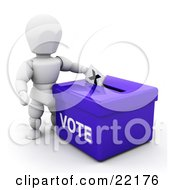 Clipart Picture Of A White Person Standing Over A Blue Ballot Box And Casting Their Vote by KJ Pargeter