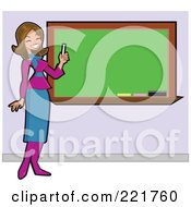 Royalty Free RF Clipart Illustration Of A Beautiful Brunette Caucasian Teacher Holding Chalk And Smiling By A Blank Board by peachidesigns