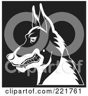 Royalty Free RF Clipart Illustration Of A Black And White Profiled Growling German Shepherd Dog by David Rey