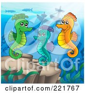 Royalty Free RF Clipart Illustration Of A Trio Of Seahorses Swimming Above A Reef by visekart