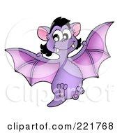 Royalty Free RF Clipart Illustration Of A Purple Female Vampire Bat Flying