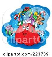 Royalty Free RF Clipart Illustration Of A Santas Sack Character Holding A Gift