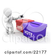 Clipart Picture Of A White Person In Thought Standing Over Red And Blue Ballot Boxes And Casting Their Vote by KJ Pargeter