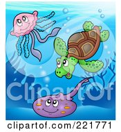 Royalty Free RF Clipart Illustration Of A Cute Sea Turtle Squid And Ray by visekart