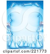 Royalty Free RF Clipart Illustration Of A Frozen Christmas Parchment Page With Flcoked Trees Over A Winter Landscape