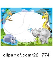 Royalty Free RF Clipart Illustration Of A Border Of A Parrot Hippo Snake Elephant And Giraffe Around White Space