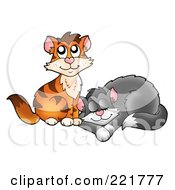 Royalty Free RF Clipart Illustration Of A Cute Orange Cat By A Sleeping Cat