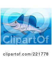 Royalty Free RF Clipart Illustration Of A Swimming Blue Sailfish In The Ocean
