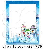 Royalty Free RF Clipart Illustration Of A Christmas Frame Border Of A Winter Landscape And Snowman Family Around White Space