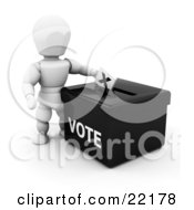 Clipart Picture Of A White Person Standing Over A Black Ballot Box And Casting Their Vote