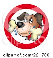 Royalty Free RF Clipart Illustration Of A Tough Dog With A Bone In A Red Circle